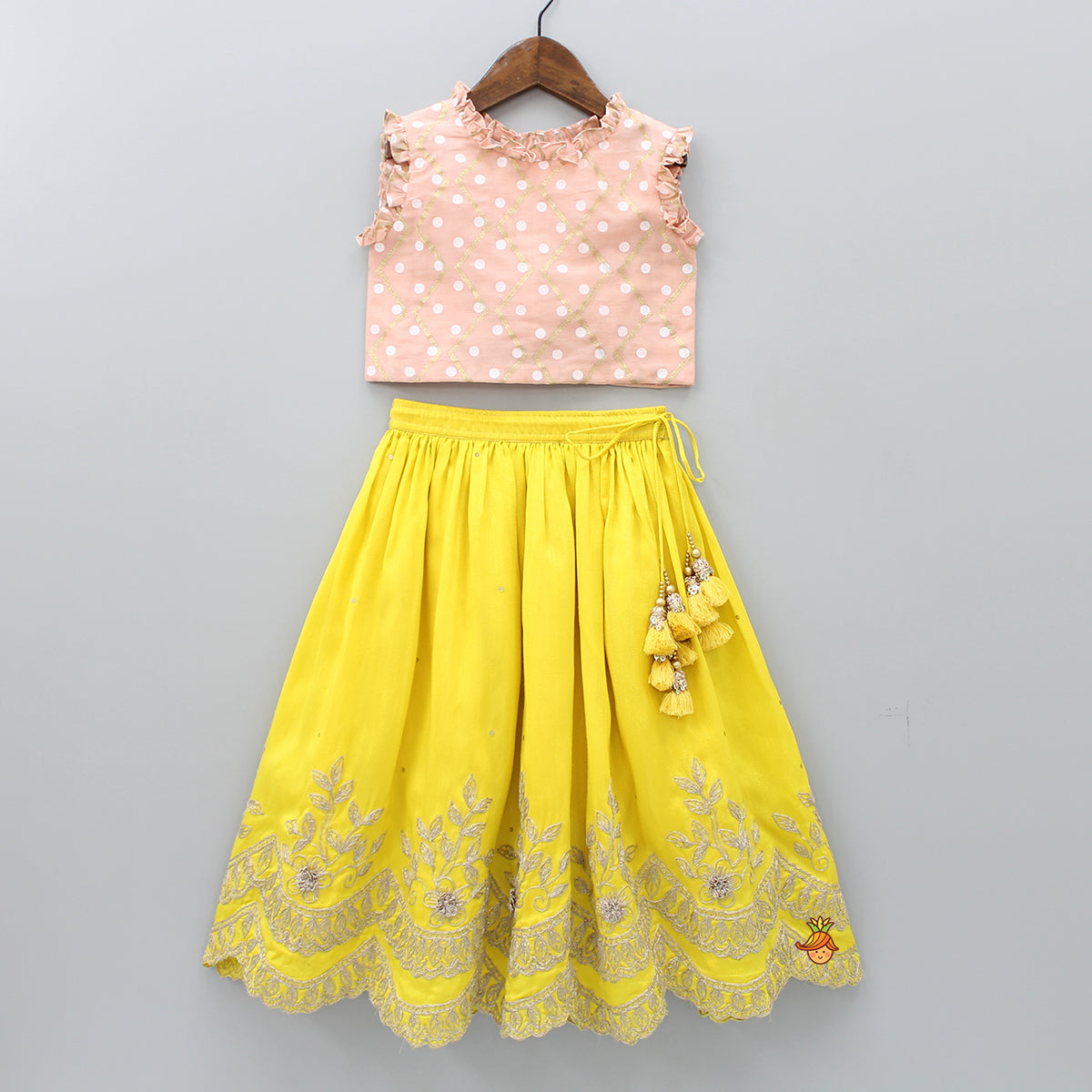 Pre Order: Polka Print Top And Yellow Ghagra