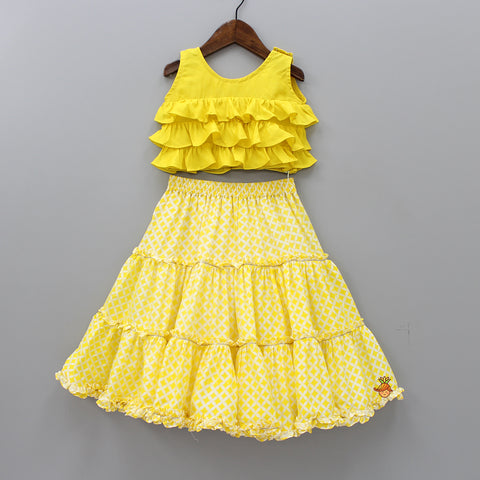 Pre Order: Yellow Top And  Printed Ghagra