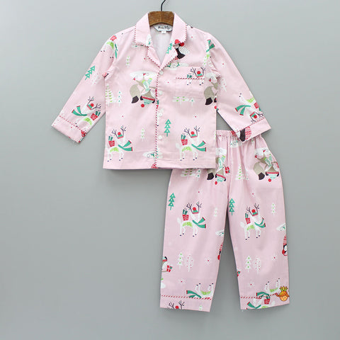 Christmas Fox Print Pink Sleepwear