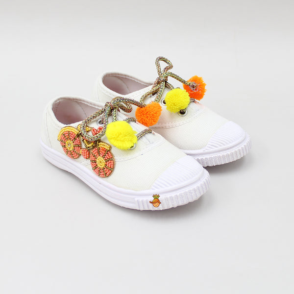 Beaded Cycle White Shoes