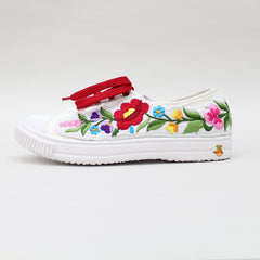 Floral Patch White Shoes