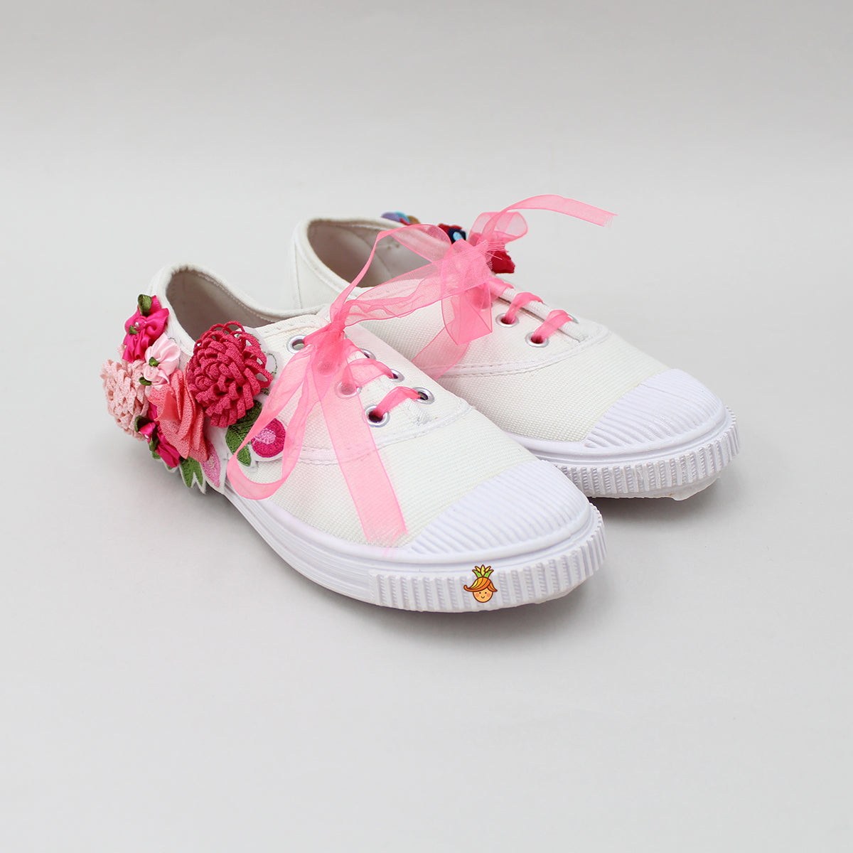 Pink Floral White Shoes