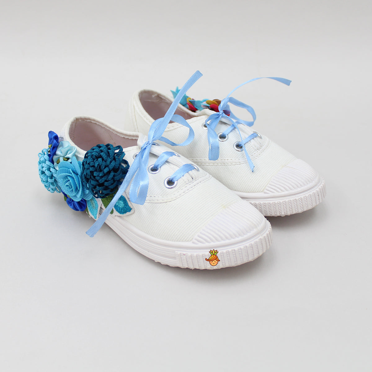 Blue Floral White Shoes