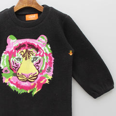 Tiger Embroidered Black Sweater