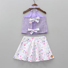 Lavender Halterneck Top And Floral Print Skirt