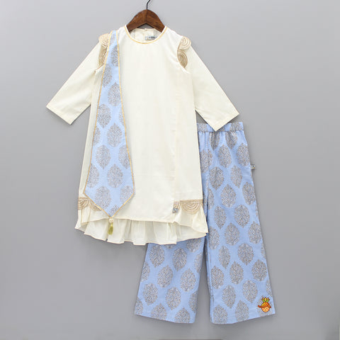 Cream Kurta And Blue Printed Palazzo With Origami Scarf