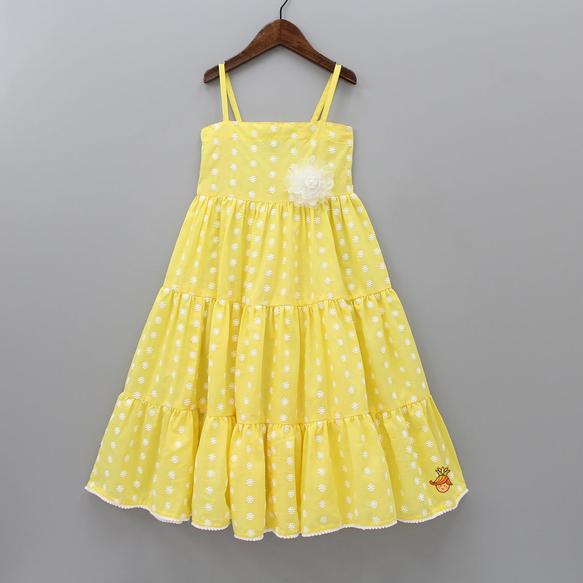 Yellow Floral Embroidered Gown
