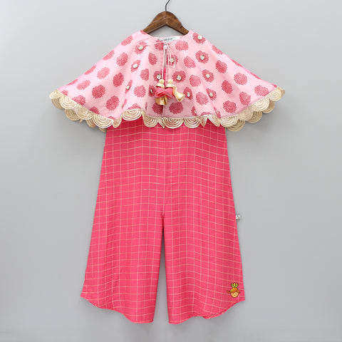 Pre Order: Pink Checks Jumpsuit With Printed Cape