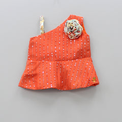 Pre Order: Dark Orange One Shoulder Top And Floral Print Dhoti