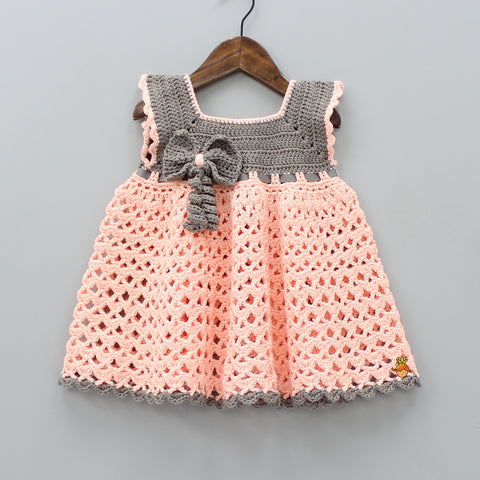 Peach And Dark Grey Crochet Dress