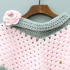 Pink And Grey Crochet Top