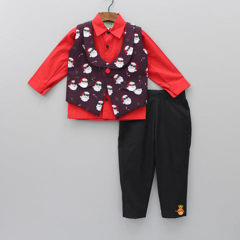 Pre Order: Red Shirt And Black Pant With Santa Print Jacket