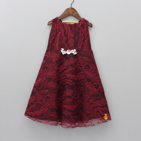 Maroon And Black Cut Work Lacy Dress