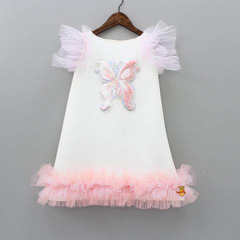 Sequin And Furry Butterfly Patch White Dress