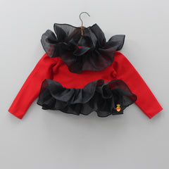 Red And Black Frilly Shrug
