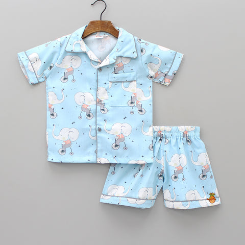 Elephant On Bicycle Blue Sleepwear