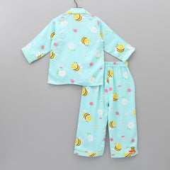 Aqua Blue Honey Bee Print Sleepwear