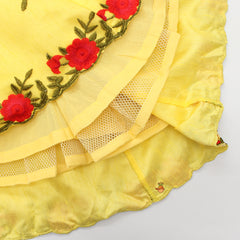 Pre Order: Embroidered Brick Red Choli And Yellow Lehenga With Attached Dupatta