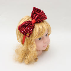 Red Sequin Bow Hair Band