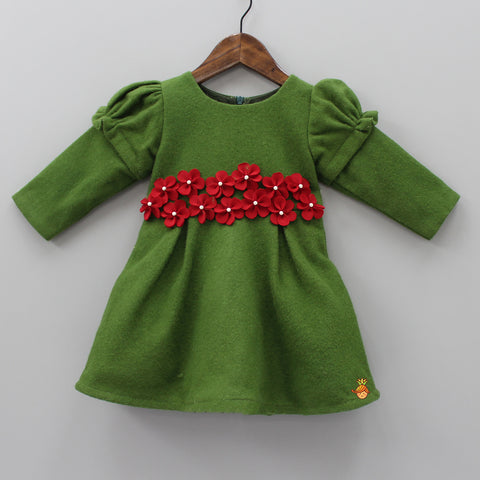 Pre Order: Green Flowery Felt Dress