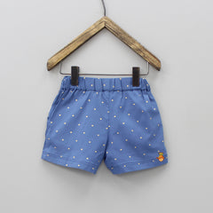 Blue Printed Shorts