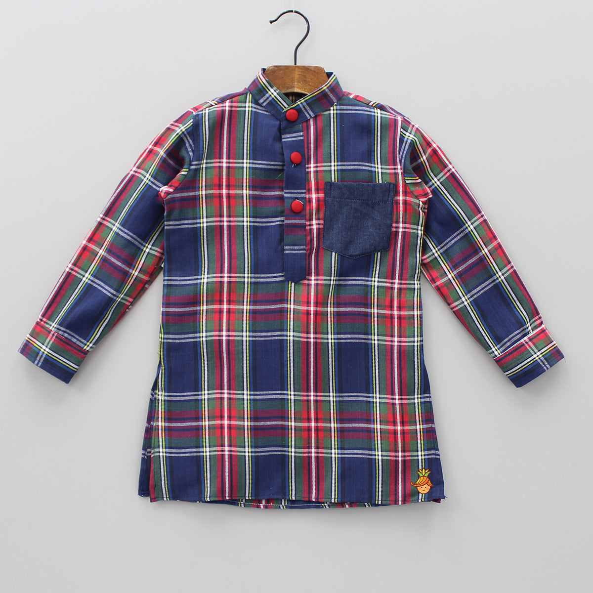 Multicolour Checks Flannel Kurta