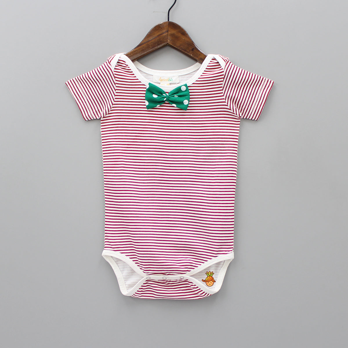 Organic Red And White Striped Bodysuit