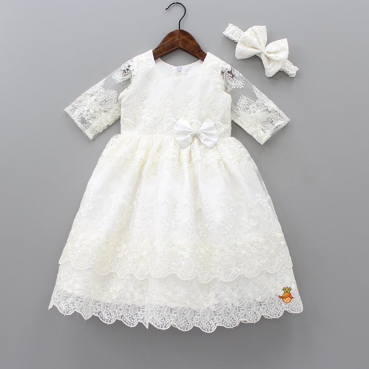 Pre Order: White Embroidered Gown With Headband