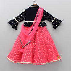 Pre Order: Coral Anarkali Gown And Dark Blue Peplum Jacket With Attached Dupatta