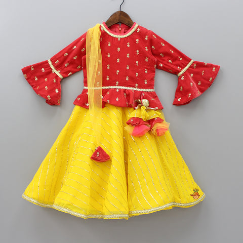 Pre Order: Coral And Yellow Anarkali Gown With Attached Dupatta