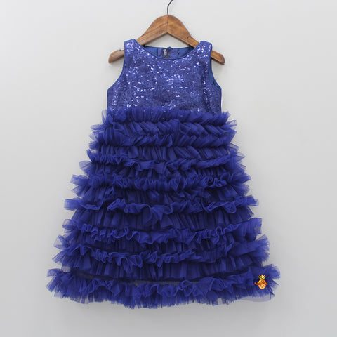 Dark Blue Ruffled Sequin Dress