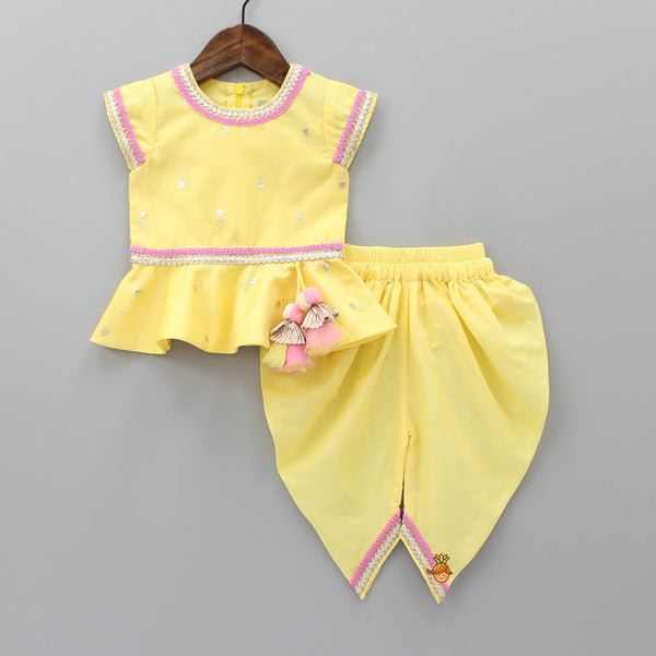 Pre Order: Yellow Top And Dhoti