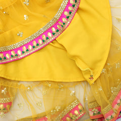 Multicolour Top And Mustard Yellow Lehenga With Dupatta
