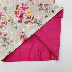 Fuchsia Pink Kurta And Dhoti With Floral Print Jacket
