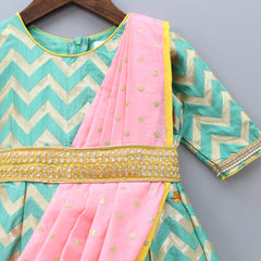 Zig Zag Print Anarkali Gown With Attached Dupatta
