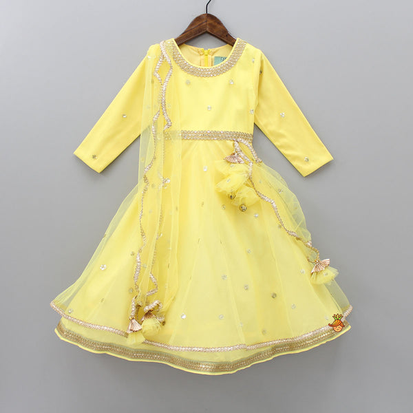 Pre Order: Yellow Anarkali Gown With Attached Dupatta