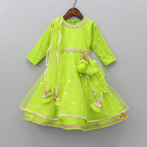 Pre Order: Bright Green Anarkali Gown With Attached Dupatta