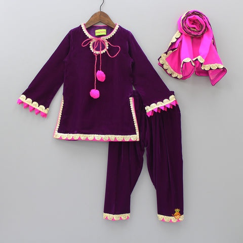 Pre Order: Purple Kurti And Patiala With Dupatta