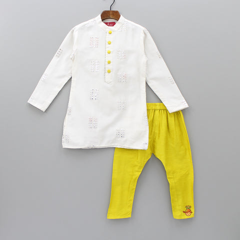 Pre Order: Off-White Kurta And Yellow Churidar