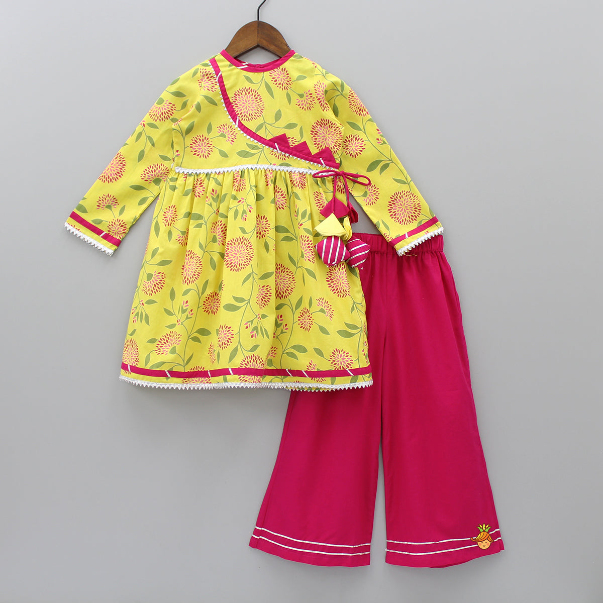 Yellow Floral Printed Kurta And Fuchsia Pink Palazzo