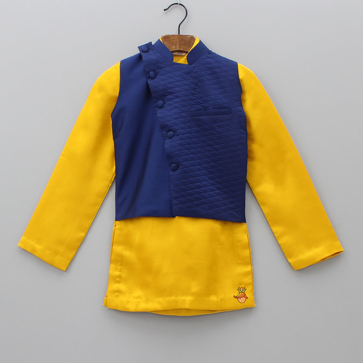 Pre Order: Yellow Kurta With Dark Blue Jacket