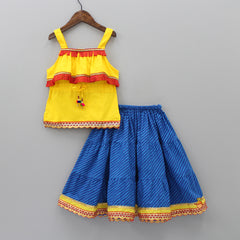 Yellow Top With Striped Lehenga