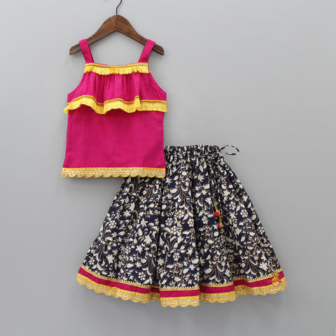 Fuschia Pink Top And Black Printed Lehenga