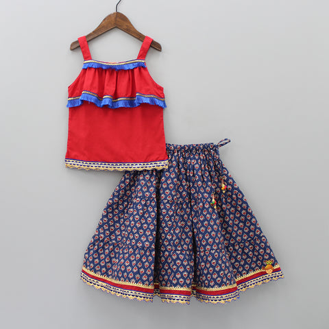 Red Top And Navy Blue Printed Lehenga