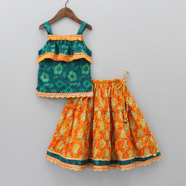 Teal Blue Floral Printed Top And Orange Printed Lehenga