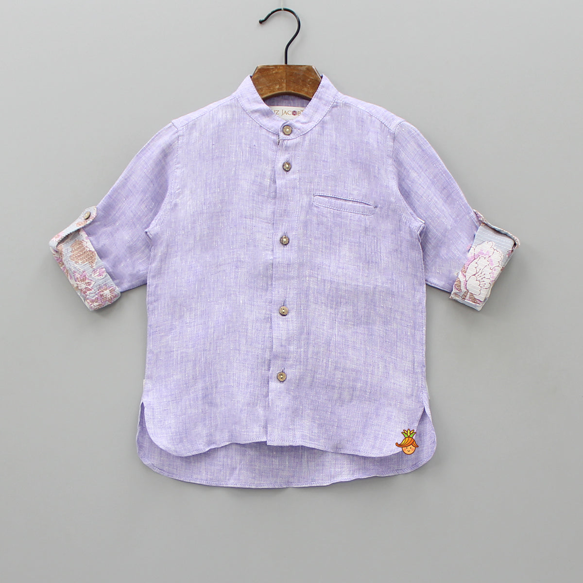 Lavender Shirt With Printed Turn-up Sleeves