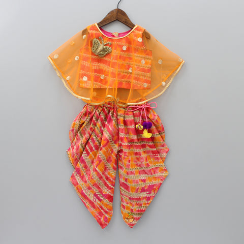 Pre Order: Multicolour Top With Attached Cape And Printed Dhoti