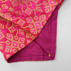 Pre Order: Fuchsia Pink Top And Light Pink Lehenga With Lilac Dupatta