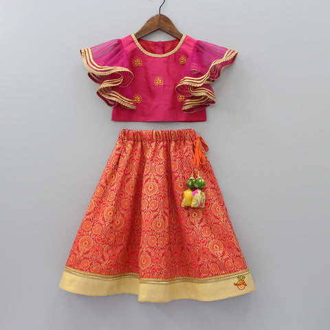 Pre Order: Pink Embroidered Top And Brocade Lehenga