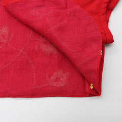 Pre Order: Red Jamna With Embroidered Jacket Set